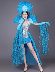 abordables -Déguisement Halloween Femme Dame espagnole Flamenco Costume Halloween Carnaval Mascarade Paillette Vert Orange Jaune Costumes Carnaval / Coiffure