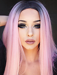 cheap -Synthetic Wig Straight Kardashian Middle Part Wig Pink Ombre Medium Length Black / Pink Synthetic Hair 16INCH Women's Adjustable Heat Resistant Synthetic Pink Ombre