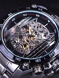 Недорогие -Муж. Часы со скелетом Механические часы Кварцевый Нержавеющая сталь Черный / Белый С гравировкой Крупный циферблат Аналоговый На каждый день Мода - Белый Черный