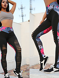 cheap -Women's High Waist Yoga Pants Cut Out Jacquard Leggings Butt Lift Breathable Moisture Wicking Black Nylon Zumba Running Workout Sports Activewear Stretchy Skinny