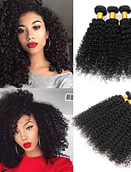 cheap -3 Bundles Peruvian Hair Kinky Curly Remy Human Hair 300 g Headpiece Natural Color Hair Weaves / Hair Bulk Hair Care 8-28 inch Natural Color Natural Black Human Hair Weaves Soft Sexy Lady Best Quality