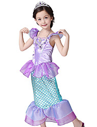 cheap -The Little Mermaid Cosplay Costume Halloween Props Flower Girl Dress Kids Elementary Girls' A-Line Slip Mermaid and Trumpet Gown Slip Halloween Halloween Festival / Holiday Polyster Purple Carnival
