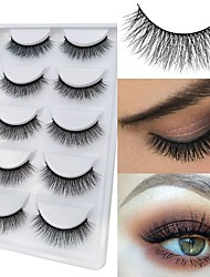cheap -Eyelash Extensions 10 pcs Natural Best Quality 3D Lightweight Soft Beauty Animal wool eyelash Christmas Gifts Party Halloween Full Strip Lashes Crisscross Natural Long - Makeup Daily Makeup High