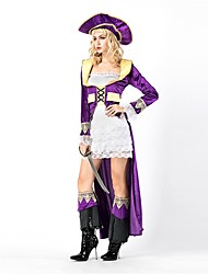 cheap -Pirate Women's Adults' Highschool Halloween Christmas Christmas Halloween Carnival Festival / Holiday Polyster Outfits Purple Solid Colored Christmas