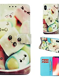 cheap -Case For Apple iPhone XS Wallet / Card Holder / Flip Full Body Cases Food Hard PU Leather