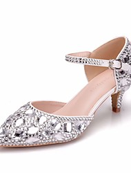 cheap -Women's PU(Polyurethane) Spring & Summer Sweet Wedding Shoes Kitten Heel Pointed Toe Rhinestone / Crystal / Buckle Silver