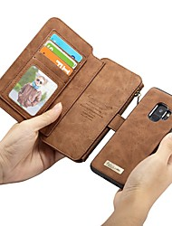 cheap -Case For Samsung Galaxy S9 / S9 Plus / S8 Plus Wallet / Card Holder / Shockproof Full Body Cases Solid Colored Hard Genuine Leather