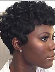 cheap -Virgin Human Hair Remy Human Hair Full Lace Wig Layered Haircut Short Bob style Brazilian Hair Curly Silky Straight Natural Wig 130% Density Soft Natural Natural Hairline African American Wig 100