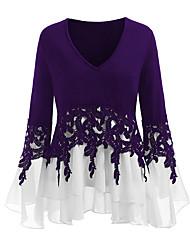 cheap -Women's Daily Plus Size T-shirt - Color Block V Neck Purple