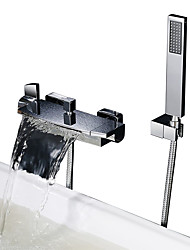 cheap -Shower Faucet / Bathtub Faucet - Contemporary Chrome Tub And Shower Ceramic Valve Bath Shower Mixer Taps / Two Handles Two Holes