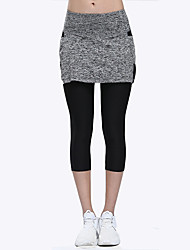 cheap -LINEBREAK Women's Double Layered Yoga Pants Solid Color Zumba Running Fitness 3/4 Tights Activewear Quick Dry Sweat-wicking Power Flex High Elasticity Skinny