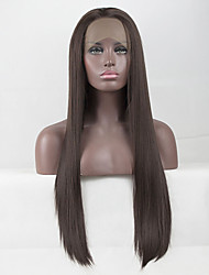 cheap -Synthetic Lace Front Wig Straight Free Part Lace Front Wig Long Chestnut Brown Synthetic Hair 18-26 inch Women's Lace Heat Resistant Elastic Brown