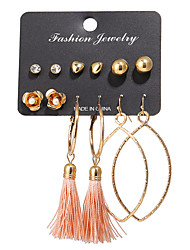 cheap -Women's Earrings Set Tassel Heart Flower Punk Fashion Earrings Jewelry Gold For Birthday Party / Evening 6 Pairs