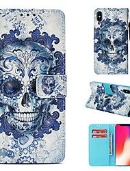 cheap -Case For Apple iPhone XS Wallet / Card Holder / Flip Full Body Cases Skull Hard PU Leather