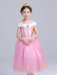 cheap -Princess Aurora Cosplay Costume Flower Girl Dress Kid's Girls' A-Line Slip Dresses Mesh Christmas Halloween Carnival Festival / Holiday Silk Organza Pink Carnival Costumes Solid Colored / Cotton