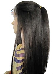 cheap -Remy Human Hair 4x4 Closure Lace Front Wig Layered Haircut style Brazilian Hair Yaki Straight Black Wig 130% Density with Baby Hair Silk Base Hair Natural Hairline Unprocessed Women's Long Human Hair