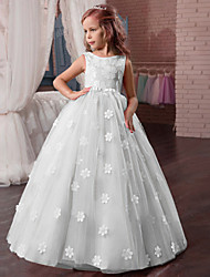 cheap -Princess Long Length Wedding / First Communion / Pageant Flower Girl Dresses - Tulle / Mikado Sleeveless Jewel Neck with Appliques