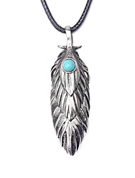 cheap -Men's Blue Turquoise Pendant Necklace Vintage Necklace Retro Engraved Feather Vintage Native American Cord Alloy Black 99 cm Necklace Jewelry 1pc For Daily Street Cosplay Costumes