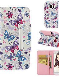 cheap -Case For Samsung Galaxy S7 Wallet / Card Holder / Flip Full Body Cases Butterfly Hard PU Leather