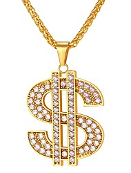 cheap -Men's AAA Cubic Zirconia Pendant Necklace Hollow Out franco chain Dollars Fashion Hip Hop Iced Out Stainless Steel Black Coin-Gold Coin-Silver Gold Silver 55 cm Necklace Jewelry 1pc For Gift Daily