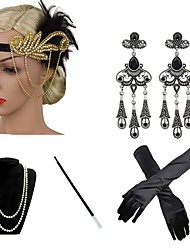 cheap -The Great Gatsby Charleston 1920s The Great Gatsby Costume Accessory Sets Flapper Headband Women's Tassel Costume Head Jewelry Pearl Necklace Black / Golden / Green and Black Vintage Cosplay Party