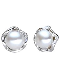 cheap -Freshwater Pearl Earrings Pearl Pink Pearl For Women's Round Elegant Simple Style Fashion Event / Party Gift High Quality Flower Flower Series 1 Pair / Black Pearl / S925 Sterling Silver