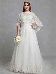 cheap -A-Line Jewel Neck Court Train Lace / Tulle Sleeveless Beautiful Back Made-To-Measure Wedding Dresses with Crystals / Lace 2020