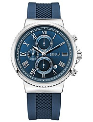 cheap -Men's Dress Watch Quartz Silicone Blue Water Resistant / Waterproof Calendar / date / day Chronograph Analog Classic Casual Fashion - Blue