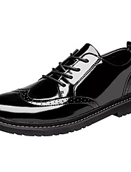 cheap -Men's Combat Boots Patent Leather Fall Casual Boots Breathable Booties / Ankle Boots Black