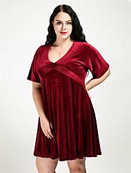 cheap -Women's Velvet Plus Size Daily Street chic A Line Dress - Solid Colored V Neck Fall Velvet Wine XXXXL XXXXXL XXXXXXL