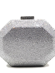 cheap -Women's Crystals Satin / PU Evening Bag Rhinestone Crystal Evening Bags Solid Color Champagne / Gold / Silver / Fall & Winter