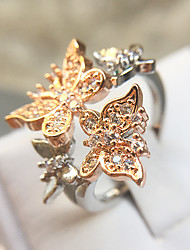 cheap -Women's Statement Ring Ring Cubic Zirconia 1pc Rose Gold Copper Platinum Plated Rose Gold Plated Elegant Romantic Fashion Gift Evening Party Jewelry Classic Butterfly Lovely / Imitation Diamond