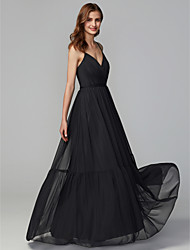 cheap -A-Line Spaghetti Strap Floor Length Tulle Bridesmaid Dress with Criss Cross / Pleats