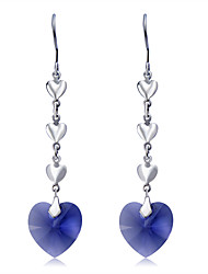 cheap -Women's Blue Crystal Drop Earrings Classic Long Heart Romantic Fashion Elegant Austria Crystal Earrings Jewelry Silver For Party Formal 2pcs