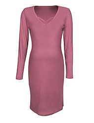 cheap -Women's Maternity Knee-length Sheath Dress - Long Sleeve Solid Colored Fall Basic Daily Wine Blushing Pink Khaki S M L XL XXL