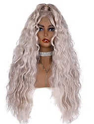 cheap -Synthetic Lace Front Wig Wavy Natural Wave Free Part Glueless Lace Front Lace Front Wig Long Grey Synthetic Hair 24-26 inch Women's Cute Women Best Quality Dark Gray EEWigs