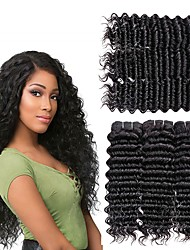 cheap -6 Bundles Deep Wave Human Hair Unprocessed Human Hair Headpiece Natural Color Hair Weaves / Hair Bulk Hair Care 8-28 inch Natural Color Human Hair Weaves Fashionable Design Silky Classic Human Hair