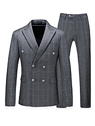 cheap -Men's Daily Business Plus Size Regular Suits, Solid Colored / Check Shirt Collar Long Sleeve Polyester Light gray / Business Casual / Slim