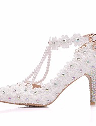 cheap -Women's Lace / PU(Polyurethane) Spring & Summer Sweet Wedding Shoes Stiletto Heel Pointed Toe Rhinestone / Imitation Pearl / Buckle White