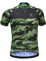cheap -JESOCYCLING Men's Short Sleeve Cycling Jersey Green Camo / Camouflage Bike Jersey Top Mountain Bike MTB Road Bike Cycling Breathable Quick Dry Ultraviolet Resistant Sports 100% Polyester Clothing