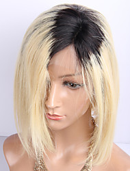 cheap -Virgin Human Hair Remy Human Hair Lace Front Wig Layered Haircut Short Bob Middle Part Emma style Brazilian Hair Natural Straight Silky Straight Blonde Multi-color Wig 130% Density Natural Color