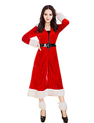 cheap -Santa Clothes Adults Adults' Women's Halloween Christmas Christmas Halloween Carnival Festival / Holiday Polyster Red Carnival Costumes Solid Colored Christmas