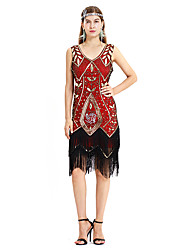cheap -The Great Gatsby Charleston Vintage 1920s Flapper Dress Dress Women's Sequin Costume Golden+Black / Red / Blue Vintage Cosplay Party Homecoming Prom Sleeveless Medium Length