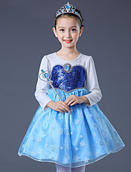 cheap -Elsa Cosplay Costume Flower Girl Dress Kid's Girls' A-Line Slip Dresses Christmas Halloween Carnival Festival / Holiday Tulle Cotton Blue / Pink Carnival Costumes Princess
