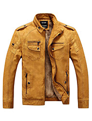 cheap -Men's Daily / Weekend Punk & Gothic Fall / Winter Regular Leather Jacket, Solid Colored Stand Long Sleeve PU Brown / Black / Yellow