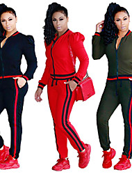 cheap -Women's Tracksuit Casual Long Sleeve 2pcs High Waist Cotton Breathable Quick Dry Soft Gym Workout Workout Sportswear Solid Colored Plus Size Pants / Trousers Sweatshirt Clothing Suit Black Red Army