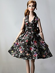cheap -Doll Dress Dresses For Barbiedoll Floral Flower / Floral Floral Botanical Black Cloth Cotton Cloth Non-woven Dress For Girl's Doll Toy