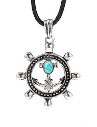 cheap -Men's Blue Turquoise Pendant Necklace Vintage Necklace Retro Anchor Vintage Cord Alloy Black 99 cm Necklace Jewelry 1pc For Daily Street