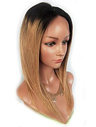 cheap -Virgin Human Hair Remy Human Hair Lace Front Wig Middle Part Side Part With Ponytail Wendy style Brazilian Hair Natural Straight Silky Straight Light Brown Wig 130% Density Soft Natural Hairline