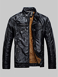 cheap -Men's Daily Basic Regular Leather Jacket, Solid Colored Stand Long Sleeve PU Brown / Black / Yellow